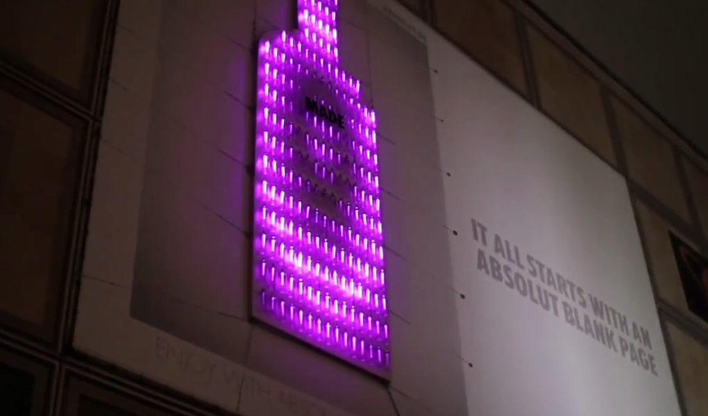 Lichtinstallation Absolut Vodka